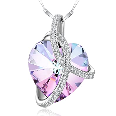 095e7997b SUE'S SECRET 925 Sterling Silver Love Heart Pendant Purple Necklaces Made  with Swarovski Crystal, Purple