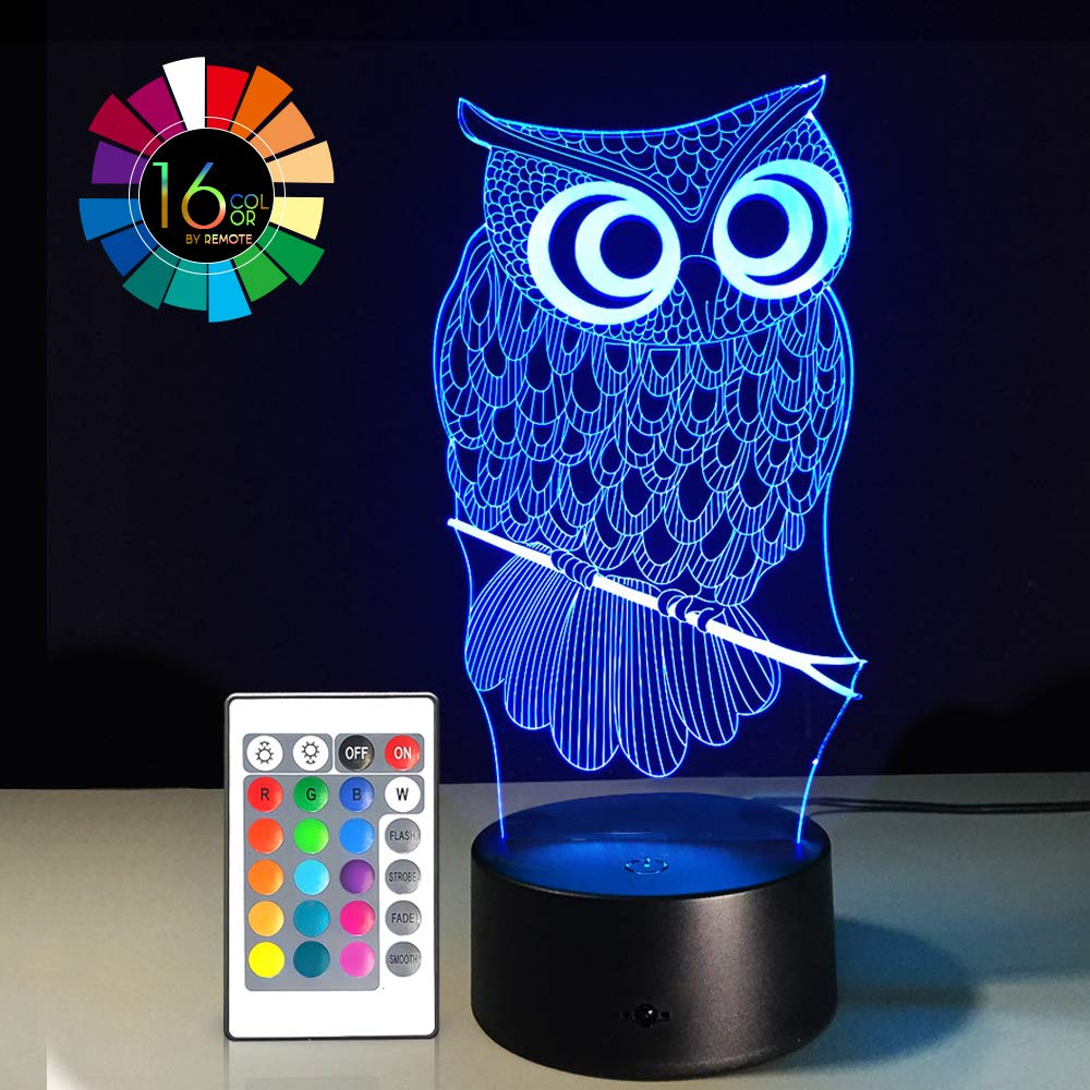 Night Light 3D Lamp 16 Colors Changing Nightlight Smart Touch & Remote Control 3D Night Light for Kids Gift Boy Girl Birthday Bedside Table Lamp (OWL 1)
