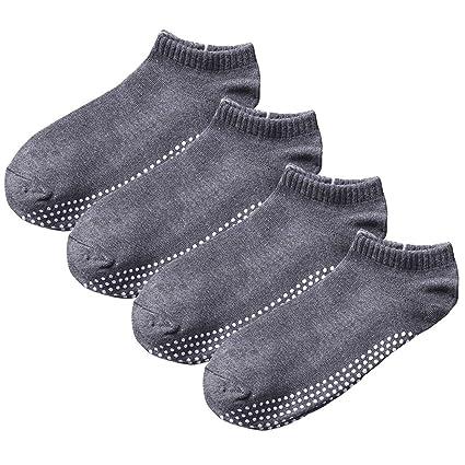 SANIQUEEN.G 4 Pares Antideslizante Skid Yoga, Pilates Calcetines algodón con agarres para Hombres