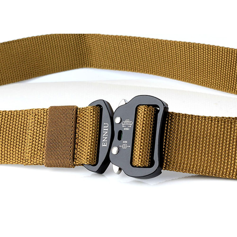 FIEKCOR Outdoor Tactical Belt Mens Heavy Duty Adjustable Military Style Nylon Belts with Aluminum Buckle 1.7