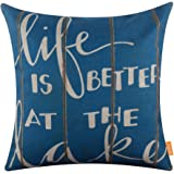 LINKWELL 18x18 inches Vintage Life is Better at The Lake Burlap Throw Pillowcase Cushion Cover (CC1271)
