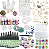 Epoxy Resin UV Glue Kit Crystal Clear Transparent with Lamp Tweezers 36 Decorations 13 Silicone Moulds 13 Colour Liquid Pigments 17 Bezels for Pendants + 2 Tapes 100 Eyelets for Jewellery Making