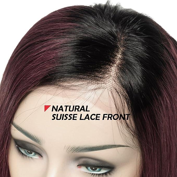 Peluca de encaje frontal para cabello humano, pelucas de pelo natural con encaje suizo, pelo brasileño Remy, pelucas cortas y rectas, 130% densidad, ...