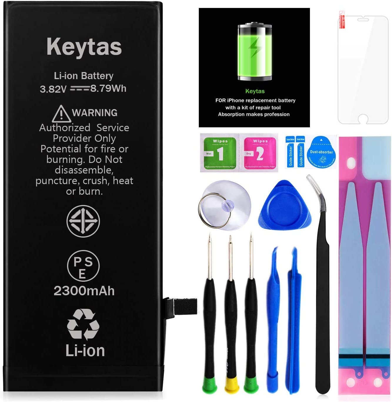 Keytas 2300mAh Replacement Battery Compatible with iPhone 6, for iPhone 6 High Capacity Replacement Battery with Complete Tools Kit and Screen Protector