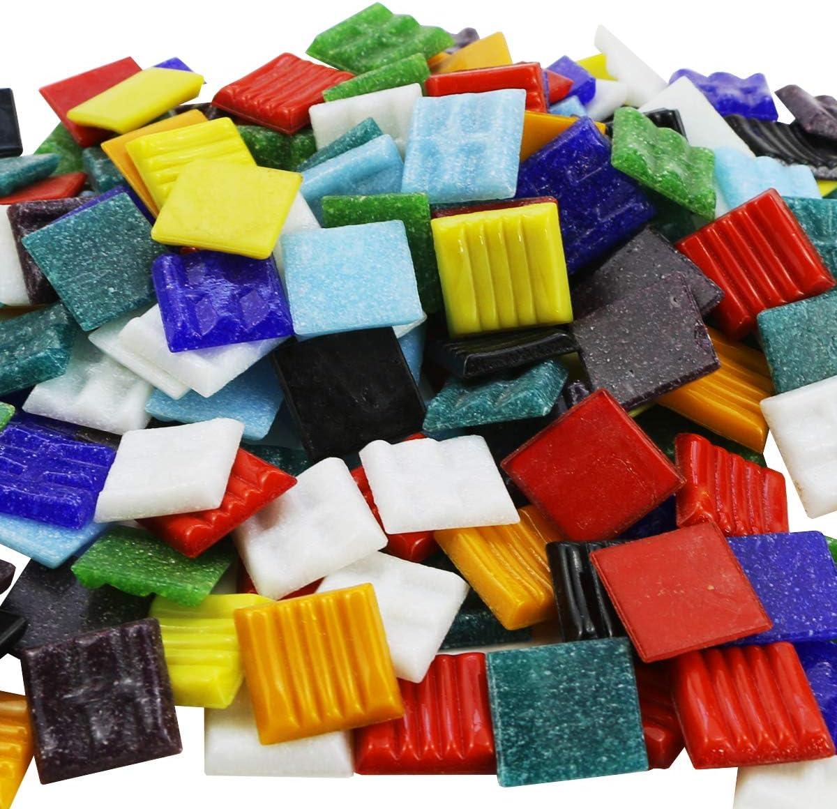 """BcPowr 160PCS Assorted Colors 3/4"""" (20mm) Mosaic Tiles, Bulk Mosaic Tiles for Crafts Venetian Glass Tiles Glass Tiles for Backsplash Mosaic Glass Pieces Home Decoration DIY Crafts (1 Pound, Square)"""