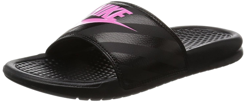 NIKE Men's Women's Benassi Just Do It Walking Shoe B002H6BJ3M 7 M US|Black/Vivid Pink - Black