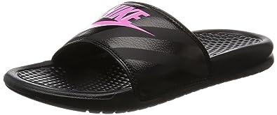Nike Womens Benassi JDI Black/Vivid Pink Slide Sandal Size 7