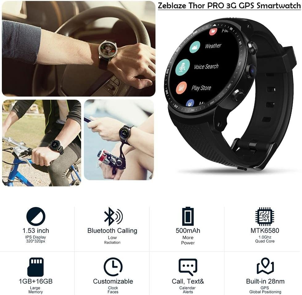 Smileyyi New Zeblaze Thor PRO 3G GPS Smart Watch with Camera 1.53inch Android 5.1 MTK6580 1.0GHz 1GB+16GB Smart Watch BT 4.0 Wearable Devices