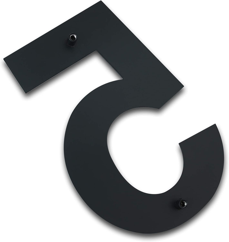 geb/ürstet aus massivem 304 Edelstahl Hausnummer Nummern 4 Vier 205 mm hoch SCHWARZ schwebende Optik und einfache Montage modern