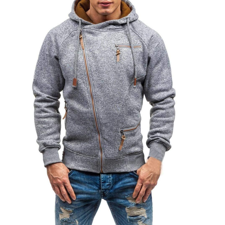 Pervobs Men's Autumn Fashion Long Sleeve Zipper Pockets Hooded Sweatshirt Hoodies
