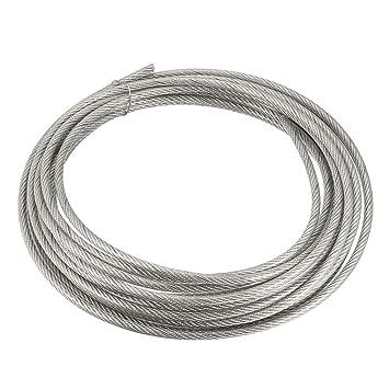 sourcing map Cable de acero inoxidable cable cuerda 3mm x 5 m 11 calibre pvc recubierto polea amoladora amoladora