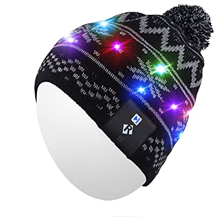 Qshell LED String Light Up Beanie Hat Knit Cap with Copper Wire Colorful  Lights 4 feet 826c454165d7