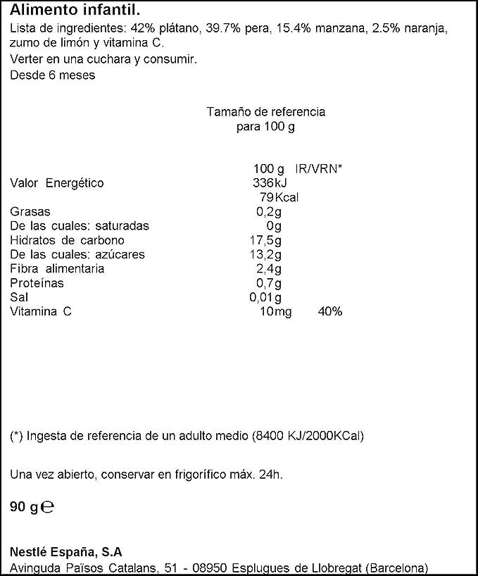 Nestlé Naturnes - Bolsita 4 Frutas - A partir de 6 meses - 90 g: Amazon.es: Alimentación y bebidas