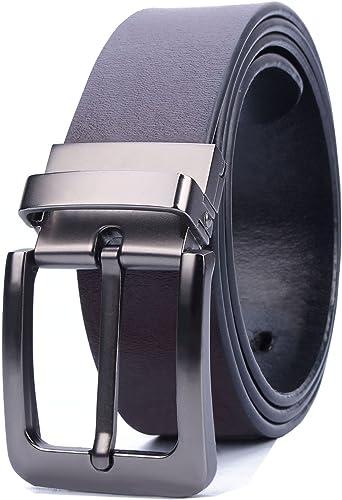 ATUSIDUN Cinturón Hombre Cuero Longitud 125 cm Ancho 4.5cm Cinturon de Cuero Marrón y Negro Con Hebillas Reversible Metal Envase de Caja para Jeans Cinturones de Pantalón: Amazon.es: Ropa y accesorios