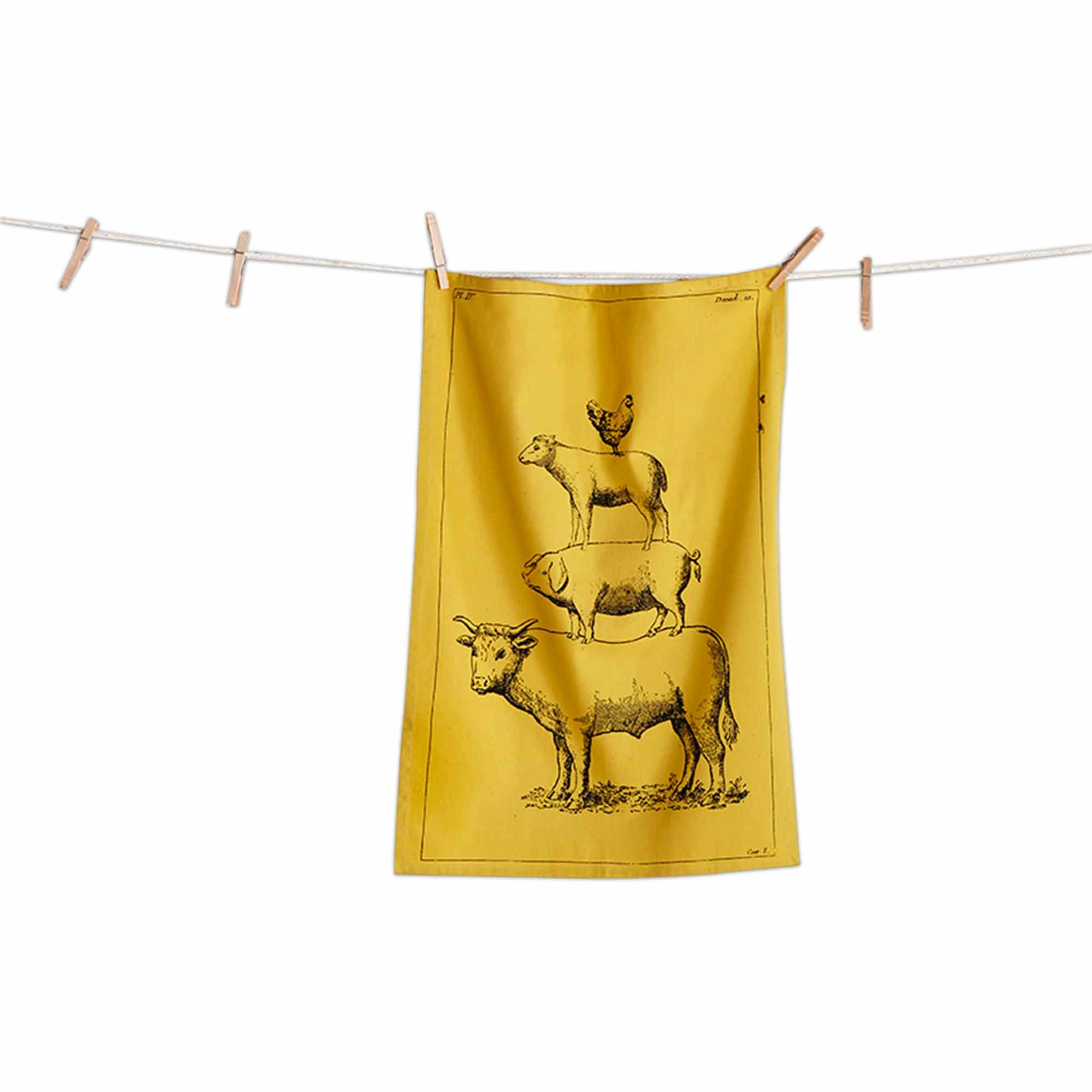 tag Yellow Farm Animals Rustic Country Kitchen Dishtowel (2 Pack)