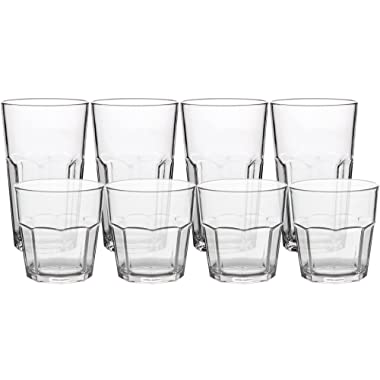 8Pack Unbreakable Rocks Glasses, Old Fashioned Drinking Glasses, 100% Clear Tritan Shatterproof Tumblers, Stackable Reusable Glassware Set for Juice Beer Water, BPA Free, Dishwasher Safe