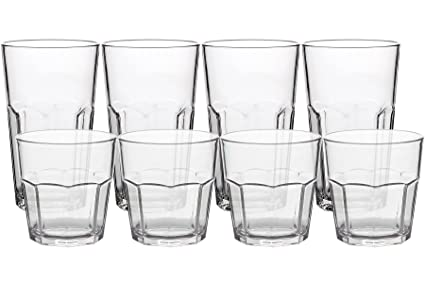 8Pack Unbreakable Rocks Glasses, Old Fashioned Drinking Glasses, 100% Clear  Tritan Shatterproof Tumblers