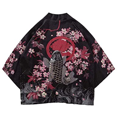 FORRQY Mens Chinese Style Good Luck Gold Fish Print Kimono Jackets