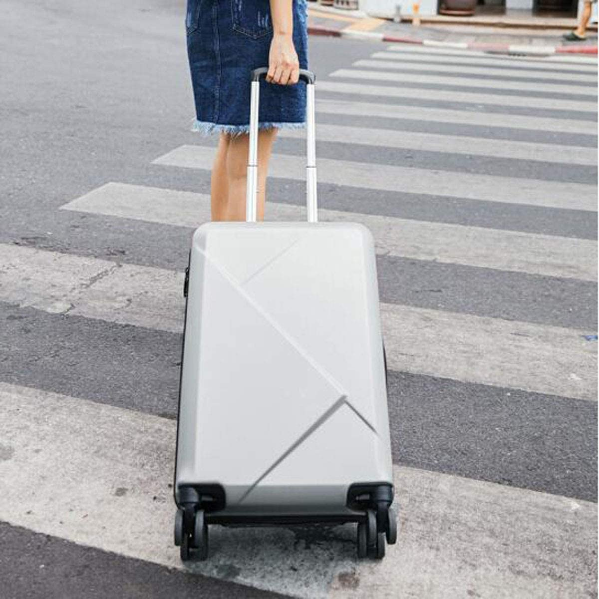 Size Aishanghuayi Suitcase for Ultra Light PC Scratch-Resistant Universal Wheel Mute Student Suitcase Color : Iron Grey, Size : 171024 inch Iron Grey cm 362256