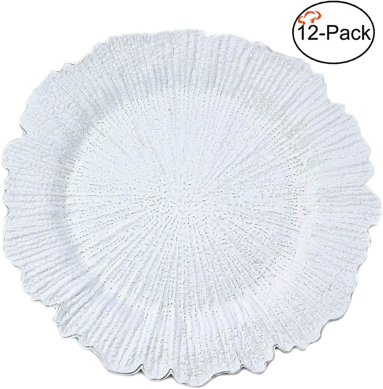   Tiger Chef Charger Plates - White Plate Chargers for Dinner Plates - Wedding Décor Place-mats (12, White Reef): Charger & Service Plates