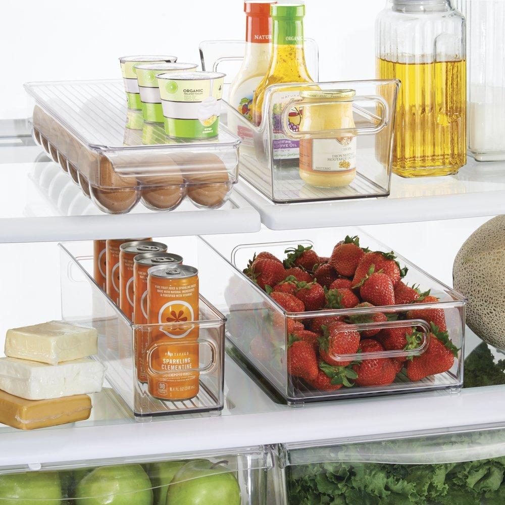 mDesign Refrigerator and Freezer Storage Organizer Bins for Kitchen, 4 pc Set - Clear by mDesign