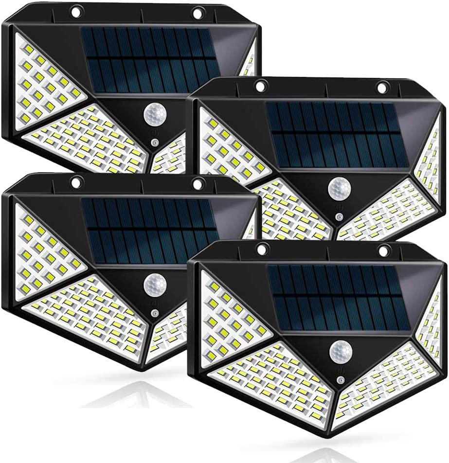 Solar Lights Outdoor ,Solar Wall Light , 100 LEDs,Wireless Motion Sensor Wall Lights with 270° Wide Angle ,IP65 Waterproof,3 Optional Modes,for Garden ,Patio Yard, Front Door, Garage,Porch (4 Pack)