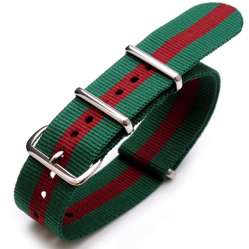 22mm G10 Nato James Bond Heavy Nylon Strap Polished Buckle - Green-Red-Green