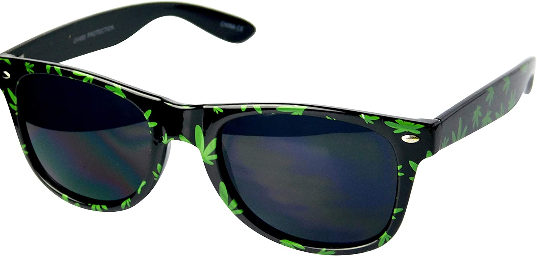 W263-RP 80s retro vintage rasta Kush Marijuana Weed Sunglasses