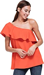 1455bd5a6f62e4 Pleione Asymetrical One Shoulder Top with Bust Ruffle