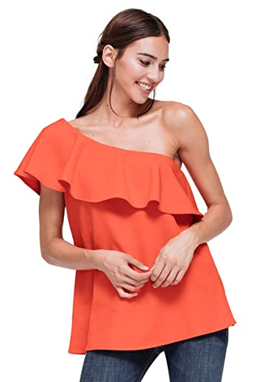 b28c62bfeb0e51 Pleione Asymetrical One Shoulder Top with Bust Ruffle at Amazon ...