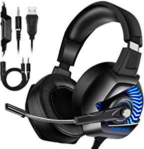 ONIKUMA Xbox One Gaming Headset - Gaming Headset with Mic for PS4, Nintendo Switch, PC, Over Ear Noise-Canceling Gaming Headphones with 7.1 Surround Sound & LED Light for Mac