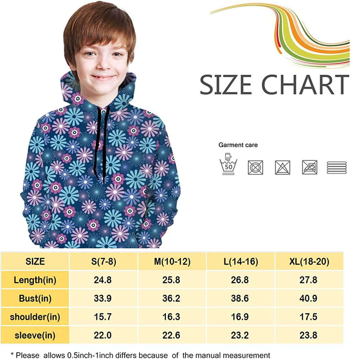 3D Print Pullover Hoodies with Pocket Daisy Flower Soft Fleece Hooded Sweatshirt for Youth Teens Kids Boys Girls 7-20 Years