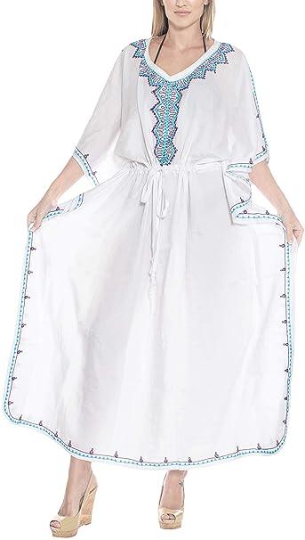 b325e7e7b LA LEELA Mujeres caftán Rayón túnica Bordado Kimono Libre tamaño Largo Maxi  Vestido de Fiesta para Loungewear Vacaciones Ropa de Dormir Playa Todos los  días ...