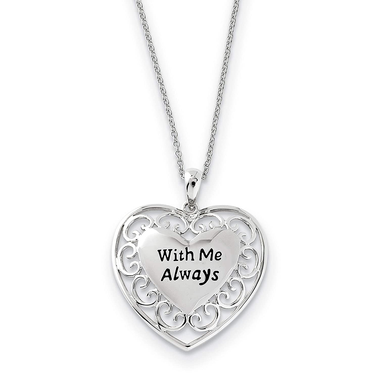 925 Sterling Silver Polished /& Antiqued With Me Always Pendant Necklace 18 by Sentimental Expressions