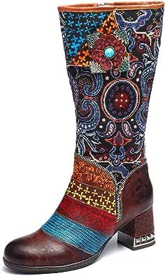 gracosy Knähöga stövlar för kvinnor läder över knäet stövlar damer tjock blockklack vinter päls fodrad varma snöstövlar handgjorda platta ridstövlar bohemiska skarvmönster mode klänning fest promenadskor