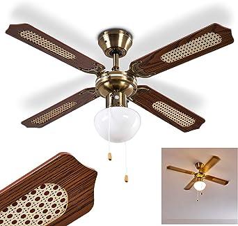 Ventilador de techo Morea de metal/madera/vidrio en latón/marrón ...