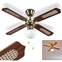 plafondventilator Morea van metaal/hout/glas in oud messing/bruin, plafondlamp met ventilator met 2 trekkoorden…