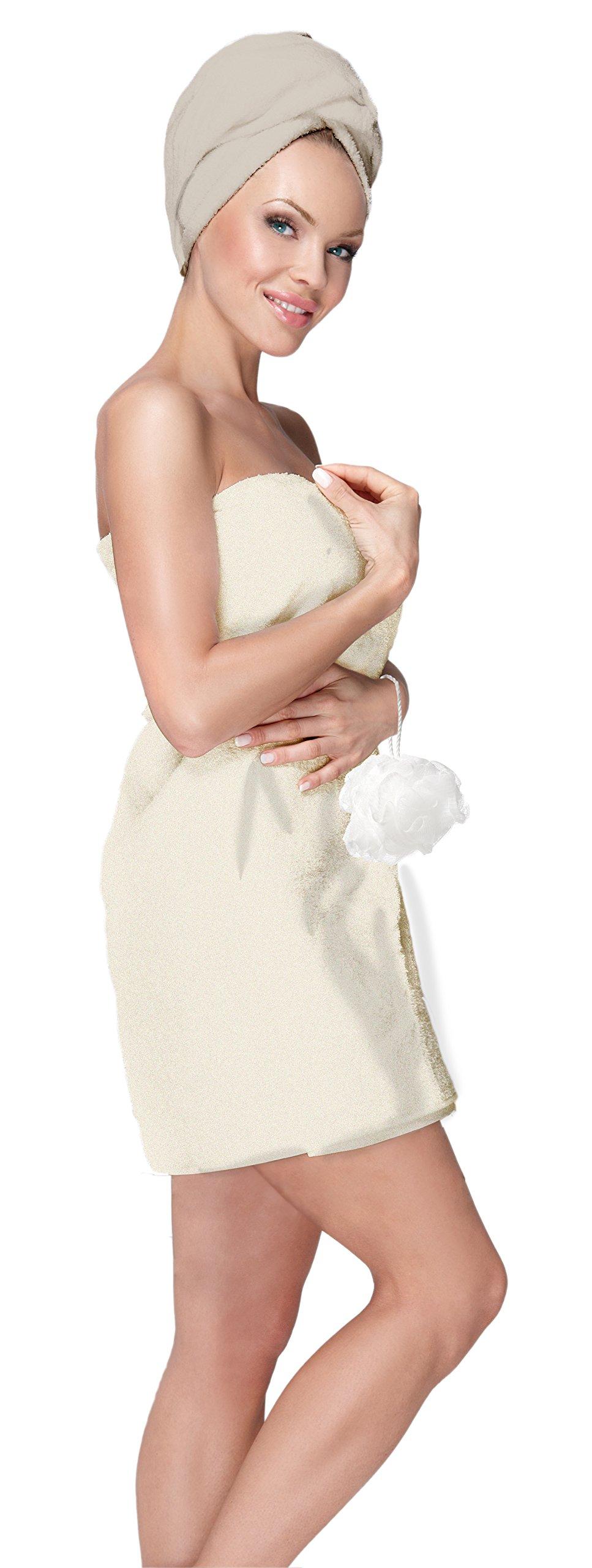 Adrienne Vittadini Women's 3 Piece Bath Body Plush Shower Towel Wrap Spa Set | Bath Body Towel Wrap with Adjustable Fastener, Hair Towel Twist, Loofah/Bath Body Sponge by Adrienne Vittadino (Image #1)