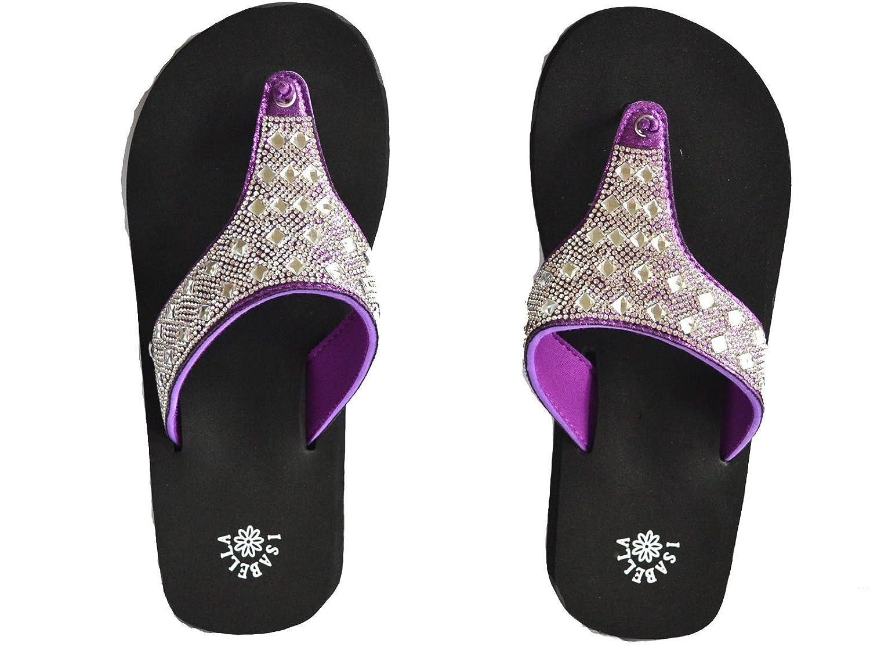 2fa0d0bfa3cd Stony West Women Purple Black Rhinestone Bling Beach Summer Sandals Flip  Flops S M L