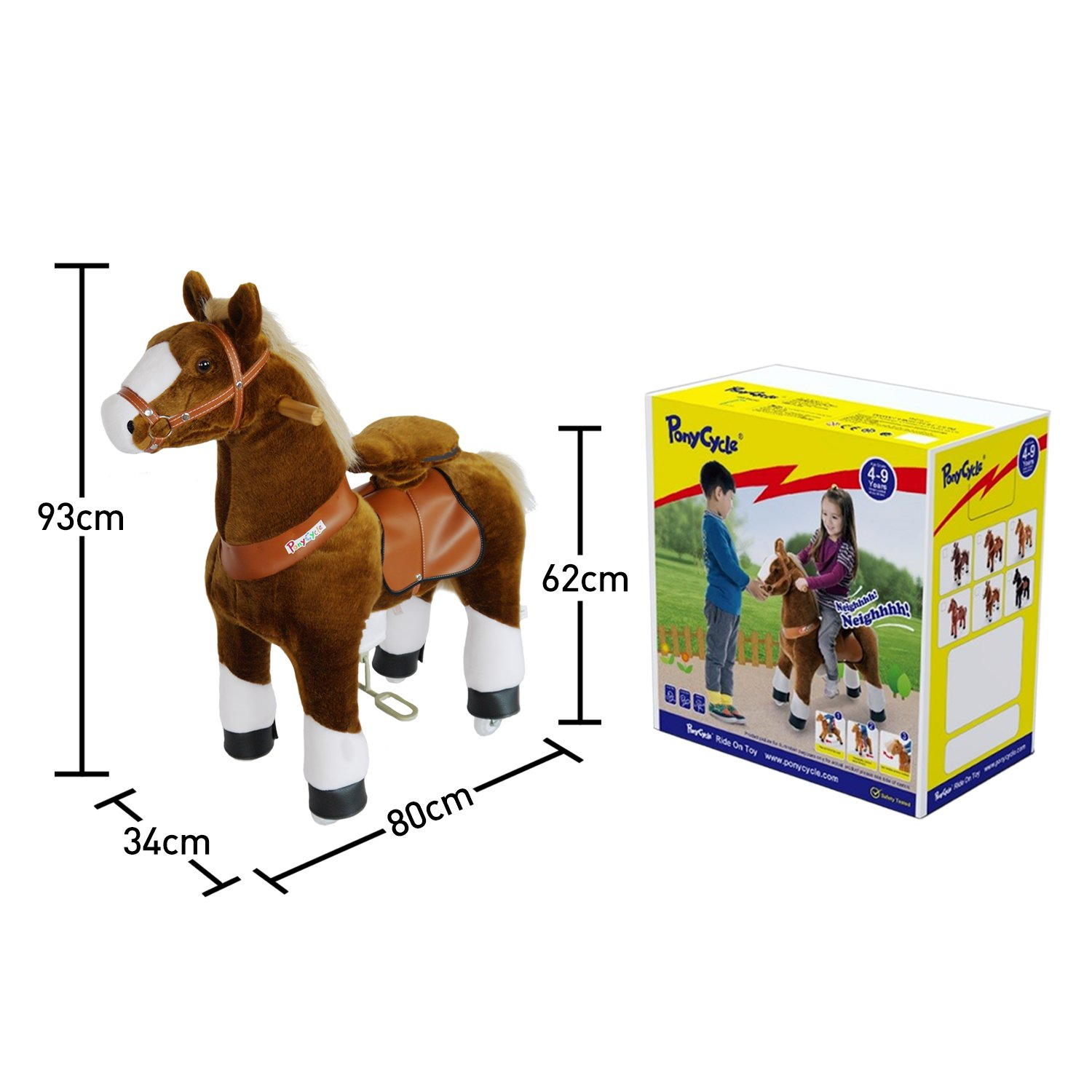 PonyCycle Official Ride-On Horse No Battery No Electricity Mechanical Pony Brown with White Hoof Giddy up Pony Plush Walking Animal for Age 4-9 Years Medium Size - N4151 by PonyCycle (Image #4)
