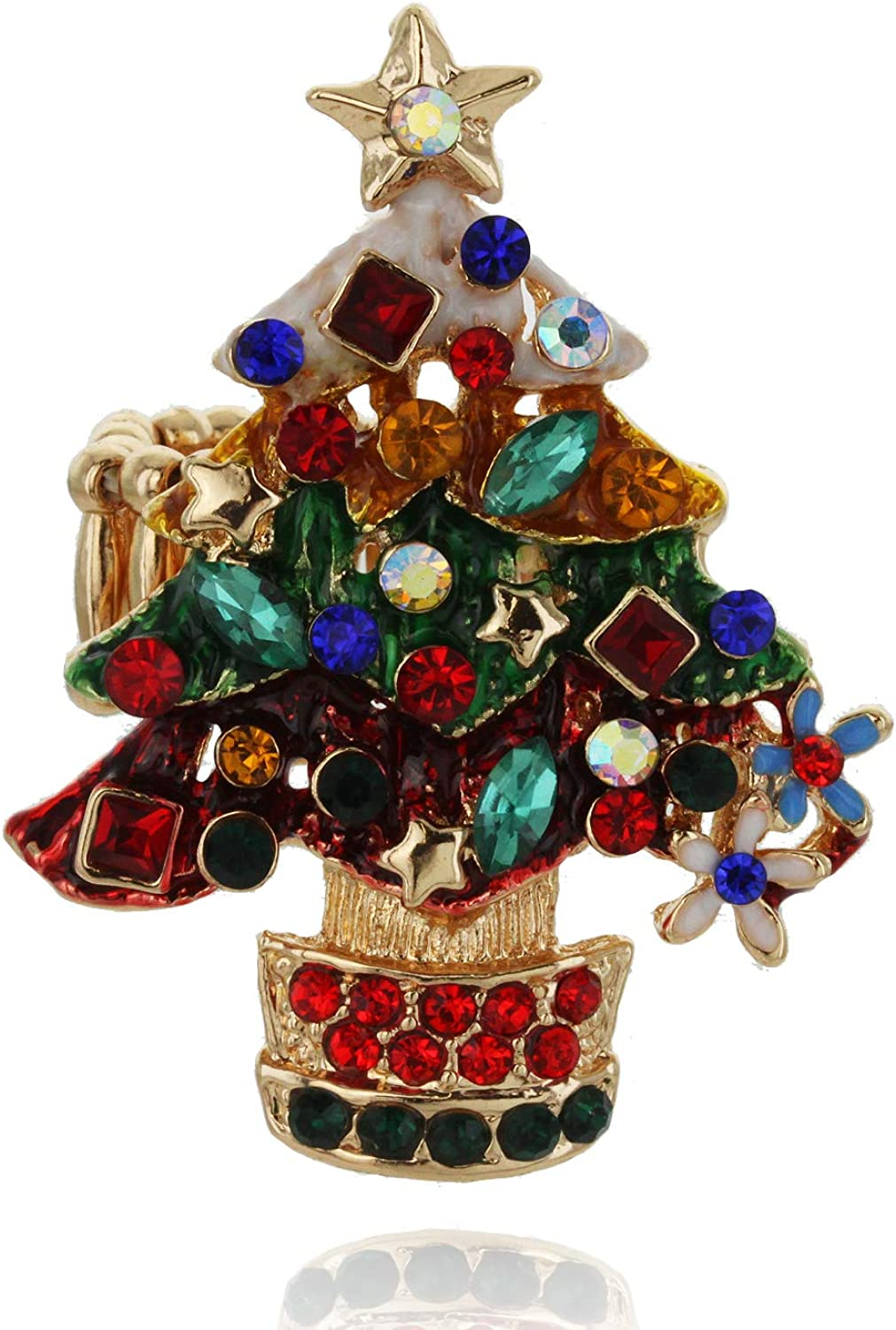 SP Sophia Collection Christmas Tree with Snow Top Adjustable Ring Decorated with Clear Austrian Chrystals