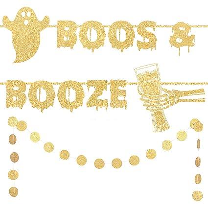 Amazon.com: Bestus Boos & Booze - Cartel para decoración de ...