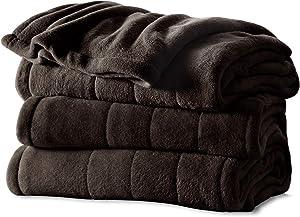 Sunbeam Heated Blanket | Microplush, 10 Heat Settings, Walnut, Twin - BSM9KTS-R470-16A00