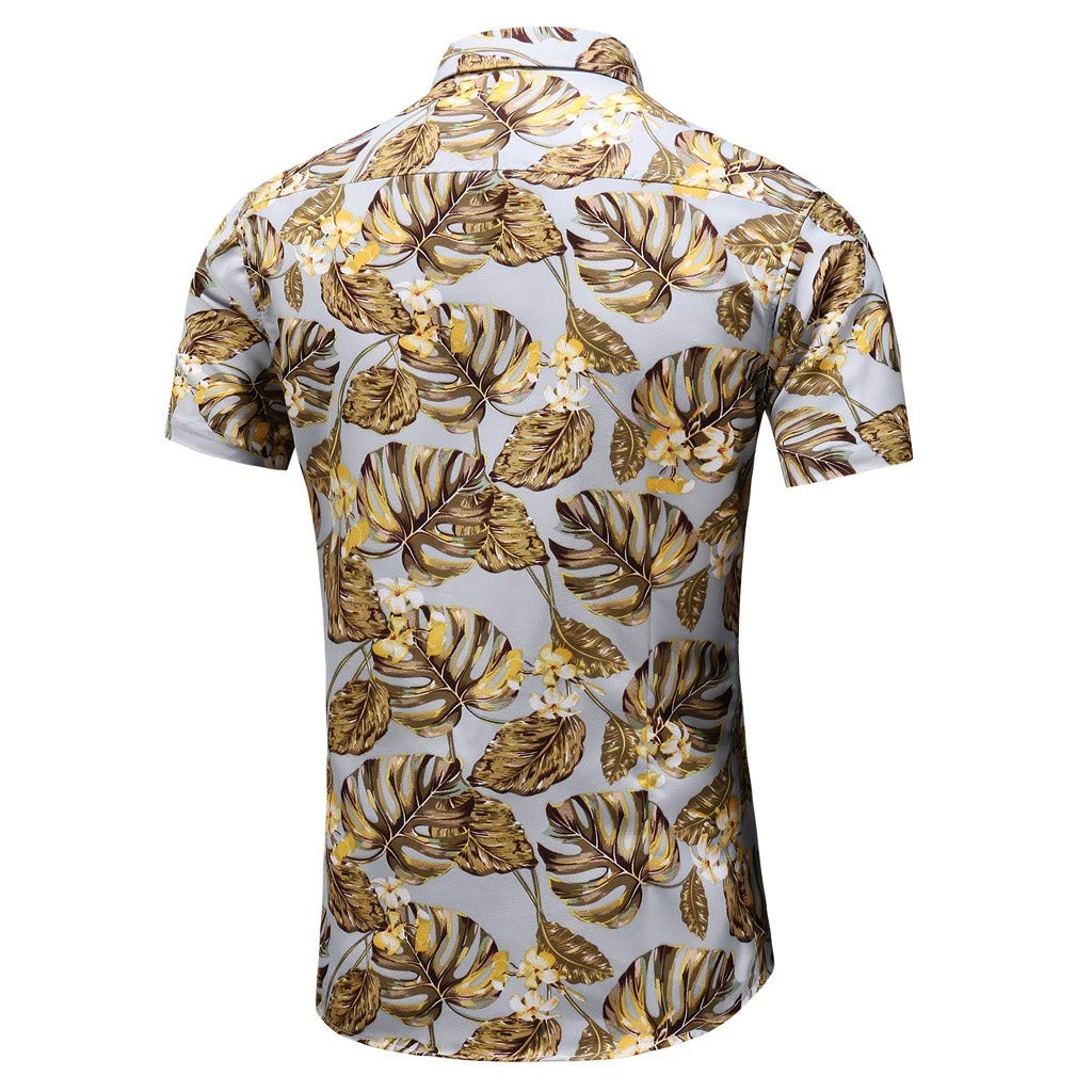 Mens Summer Tops Fashion Business Casual Short-Sleeved Plus Size Printing Shirt