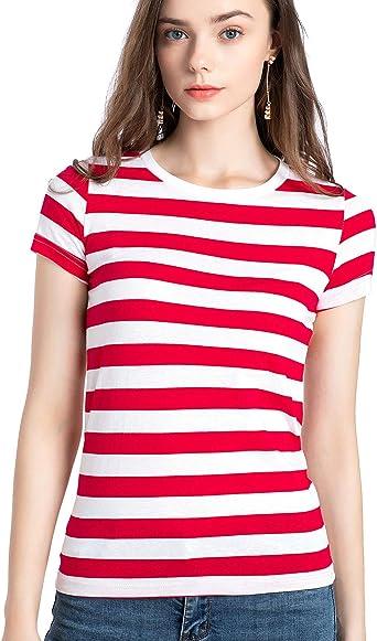 Rainbow T Shirt Women Striped Crew Neck Short Sleeve Stripes Tee Top Stripped
