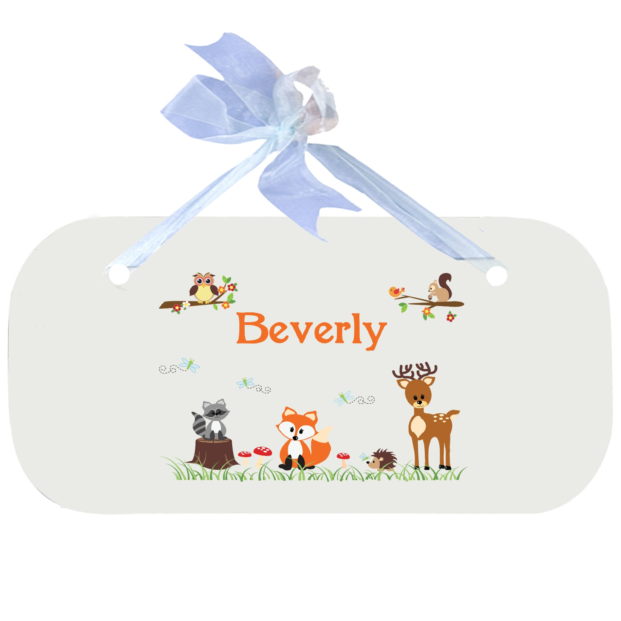 Personalizedecoral Forest Animals Nursery Door Hanger Plaque with blue ribbon