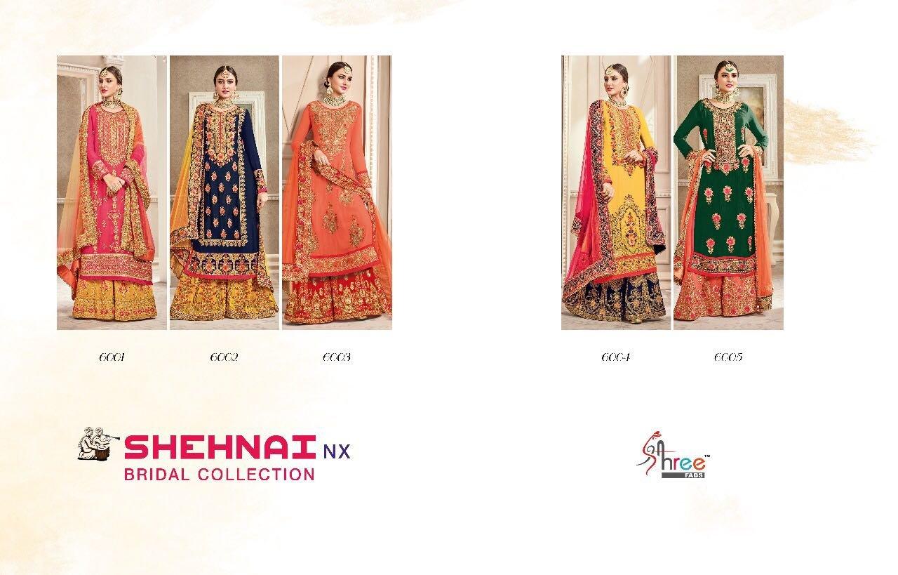 SHRNAI NX Georgette Semi Stich 5 Designs Set Fine Embroidery Salwar Kameez by PANCHAL Creation -07
