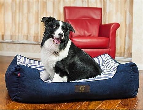 Azul marino Tela de gamuza Perrera cuadrada Cama de perro ortopédica Suministros de mascotas Extraíble y