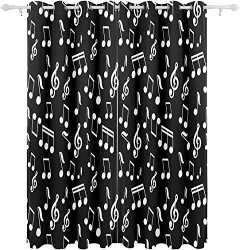 ALAZA Living Room Window Curtain White Music Note Curtains Blackout 84 Inch Length 2 Panel