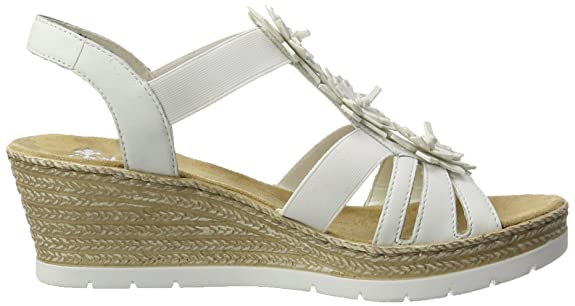 Rieker Damen 61949 Offene Sandalen mit Keilabsatz, Weiß (Weiss/Bianco/80), 36 EU